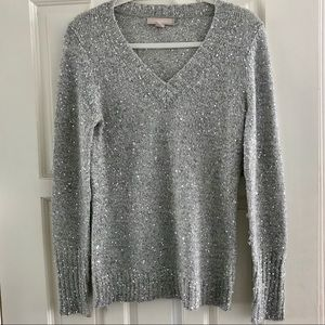 Banana Republic Wool Blend V-Neck Silver Sweater